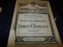RARE ANTIQUE SHEET MUSIC ERRAND OF FLOWERS CHILDRENS CANTATA SCORE HARVEY DICKS